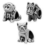 <b>Antique</b> Tone Shaggy Spotty Shar-pei Dog Animal Authentic 925 Sterling Silver European Charm Beads <b>Jewelry</b> Accessory SAPB3122