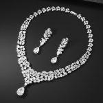 Heavy Luxury Party AAA Cubic Zirconia Stone Necklace Earring <b>Jewelry</b> Set For Women Wedding Bridal Dress <b>Accessories</b>