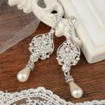 Bella Fashion Bridal <b>Art</b> <b>Deco</b> Teardrop Earrings Austrian Crystal Simulated Pearl Dangle Earrings For Wedding Party <b>Jewelry</b> Gift