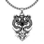 Double Dragon Shape <b>Accessories</b> Necklaces & Pendants For Men Boy New Fashion Silver Black Glass Stone Vintage Charm Fine <b>Jewelry</b>