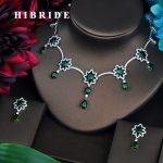 HIBRIDE Green AAA Cubic Zirconia <b>Jewelry</b> Sets For Women Fashion Drop Earring Set Wedding Dress <b>Accessories</b> Wholesale Price N-449