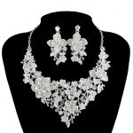 AB color <b>Jewelry</b> Set Silver plated Bridal Wedding Necklace with Earring Rhinestone Brides Party <b>Jewelry</b> <b>Accessories</b>