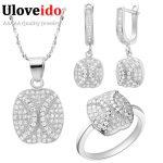 Uloveido Vintage Wedding <b>Jewelry</b> Sets Silver Cubic Zirconia Rose Gold Necklace Set Crystal Bridal Jewellery Set <b>Accessories</b> T116