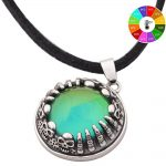 Extra gifts Style Real <b>Antique</b> Plated Mood Pendant Calf Leather Rope Chain Mood Color Change Necklace <b>Jewelry</b> Silver MJ-SNK005