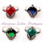 Free Shipping 10x14mm Drop Shape Beads <b>Antiqued</b> Tibetan Silver Classical Fashion Style Female Short <b>Jewelry</b> Ring 1 Pc,Pick Color