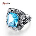 Szjinao Fancy 100% Pure Silver Big Star of David Ring Women Men <b>Antique</b> 2.5ct Aquamarine 925 Sterling Silver <b>Jewelry</b> Wholesale
