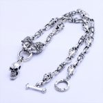 MetJakt Domineering Skull and Lion Punk Necklace Solid 925 <b>Sterling</b> <b>Silver</b> 1.1cm Chain for Men's Punk Rock <b>Jewelry</b> 62cm