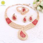 African Beads <b>Jewelry</b> Sets For Women Rhinestone Necklace Earrings Bracelet Ring Bridal Set Fine Gold Color Party <b>Accessories</b>