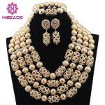 Luxury Dubai Gold Beaded Bold Statement Necklace Set Nigerian Wedding African Beads <b>Jewelry</b> Set <b>Accessory</b> Free Shipping WD317