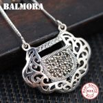 BALMORA 925 Sterling Silver Mosaic Lock Pendant Necklaces for Women Men 45+5cm Long Chains <b>Accessories</b> Lucky <b>Jewelry</b> JLWN80090
