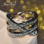 JUNXIN Unique Cross Finger Ring Luxury White Zircon Stone Engagement Rings For Women Fashion Wedding <b>Jewelry</b> <b>Accessories</b>