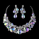 Gorgeous Auora AB Crystal Bridal Wedding <b>Jewelry</b> sets Brides Necklace earrings women party <b>Accessories</b> Decoration