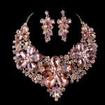 light peach color statement necklace sets For bridal wedding <b>jewelry</b> Women party <b>jewelry</b> sets dress <b>accessories</b> Christmas Gift