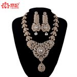 India Style Wedding <b>Jewelry</b> Set Crystal Rhinestone necklace earrings set Bridal Party <b>Jewelry</b> <b>Accessories</b> golden plated Earrings