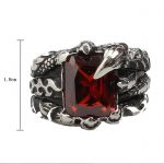 Square CZ Red Stone Rings Men Gothic Dragon Claw Band In Black <b>Antique</b> Titanium Stainless Steel Vintage Fashion Mens <b>Jewelry</b>