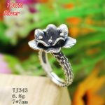 100% 925 sterling silver Adjustable Ring Blank Flower Shape Inner 7MM Setting Round Stone <b>Antique</b> Silver Classical platin