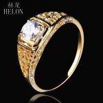 HELON <b>Antique</b> Vintage Art style <b>Jewelry</b> Solid 10k Yellow Gold 4.5mm Round 0.4ct Moissanite Diamond Engagement Wedding Women Ring