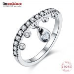 LZESHINE 100% 925 Sterling Silver Rings For Women Water Drop Pendant Ring <b>Jewelry</b> <b>Accessories</b> Silver Rings PSRI0149-B