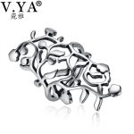 V.YA Fashion Hollow Big Rings For Women Adjustable Leaves Ring 925 Silver <b>Jewelry</b> <b>Accessories</b> Party Wedding Band