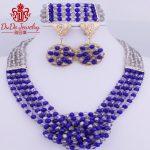 2018 Royal Blue <b>Jewelry</b> Set Brand Fashion <b>Accessories</b> Necklace Set African Nigerian Beads <b>Jewelry</b> Set For Women Sexy jewellery