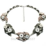 2017 Vintage <b>Jewelry</b> <b>Antique</b> Silver Color Vivid Leaf Chunky Chokers Necklace For Women
