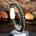 2016 New Brand Leather Bracelet Punk Handmade Woven Cuff Bangle Black Gold Bracelet&Bangle Unisex Men Women <b>Jewelry</b> <b>Accessories</b>