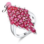 JEXXI Pomegranate Red Cubic Zirconia Pave Cut <b>Art</b> <b>Deco</b> Bright Cocktail Rings for Women Dress Accessory Femme Luxury <b>Jewelry</b>