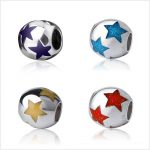 SG 925 silver Charms Various color star <b>Antique</b> beads Fit authentic pandora Charm Bracelets Pendant <b>jewelry</b> making women Gifts