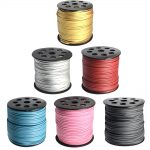 1Roll 90m/roll 2.7×1.4mm HOT Faux Suede Cord Thread for <b>Jewelry</b> DIY <b>Accessories</b> Making, One Side Covering with Imitation Leather