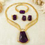 CZ New Dubai Fashion Bride <b>Jewelry</b> <b>Accessories</b> Luxury Crystal Pendant Hollow Necklace Elegant Girl Gold <b>Jewelry</b> Set