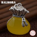 BALMORA Authentic 990 Pure Silver Yellow Chalcedony Purse Pendants Women Mother <b>Accessories</b> Gift Vintage Special <b>Jewelry</b> MN12347