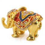 U.TECH Elephant Crystal Metal Trinket Box <b>Jewelry</b> Ring Holder Wedding Xmas Gift