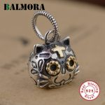 BALMORA 925 Sterling Silver Cat Head & Cross Pendants Without a Chain Women Men <b>Accessories</b> Gifts Cute Animal <b>Jewelry</b> SY13936