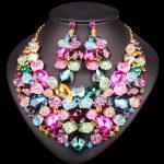 5 Colors Beautiful Leaf Indian Bridal <b>Jewelry</b> Set Rhinestone Party Wedding Prom Costume <b>Accessories</b> Necklace Earring Set Women