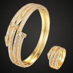 Zlxgirl <b>jewelry</b> Brand Double nail Bangle ring Wedding <b>Jewelry</b> sets Women's Gold-color Bangle Rings <b>Accessory</b> Sets 2201100195