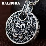 BALMORA 990 Pure Silver Vintage Flower Hollow Pendants for Women Mother Gift Silver <b>Jewelry</b> <b>Accessories</b> Without a Chain SY13993