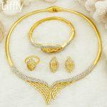AAAAA Liffly Fashion Luxury Dubai Bride Crystal Leaf Necklace Gold Bead <b>Jewelry</b> <b>Accessories</b> Italian Women Wedding <b>Jewelry</b> Sets