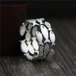 Three Rows Hollow Swimming Fish Ring Animal Guaranteed 925 Sterling Silver Rings For Women <b>Antique</b> Matte Processing Fine <b>Jewelry</b>