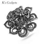 K's Gadgets Crystal Rhinestone Large Flowers Rings For Women <b>Antique</b> Titanium Gold <b>Jewelry</b> Engagement Ring Aneis Feminino