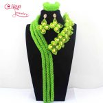 New Apple Green Luxury Nigerian wedding bridal beads necklace African <b>accessories</b> beads <b>jewelry</b> sets dubai beaded <b>jewelry</b> E1139