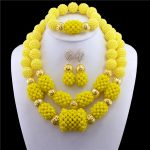 2017 New Arrival Necklace Set Gold-color Statement Necklace Earring Yellow Crystal Nigerian Women <b>Accessories</b> African Beads