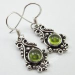 Chanti International Pure Silver <b>ANTIQUE</b> STYLE Earrings 1 Pair 3.4 CM, Authentic PERIDOT <b>Jewelry</b>