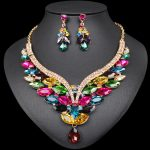 Fashion Korean Crystal Necklace and Earrings Set Indian Bridal <b>Jewelry</b> Sets Gold Color Party Wedding Costume <b>Accessory</b> for Women
