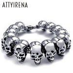 ATTYIRENA Punk Rock Skull Bracelet Men Stainless Steel Skeleton Men's Bracelets & Bangles Male <b>Jewelry</b> <b>Accessory</b> Gift Wristband