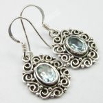 Chanti International CUT BLUE Topas Earrings 3.2 CM 5.0 Grams ! Pure Silver <b>ANTIQUE</b> LOOK <b>Jewelry</b>