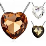 Heart Necklace Big Pendant Women <b>Accessories</b> Long Sweater Chain Costume <b>Jewelry</b> Austria Crystal 3 Colors Large Heart Bijoux Gift