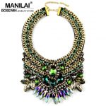 MANILAI Brand Women Party Exaggerate <b>Accessories</b> Luxury Choker Multicolor Crystal Bead Collar Statement Necklaces Maxi <b>Jewelry</b>