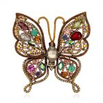 <b>Antique</b> Gold Metal Butterfly Brooch Pin Multi Colors Crystal Rhinestone Insect Vintage Fashion <b>Jewelry</b> Accessory