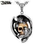 ZABRA 925 Silver Dragon with Gold Color Skull Men Pendant Necklace Vintage Punk Rock Biker Men Bar <b>Accessories</b> Sterling <b>Jewelry</b>