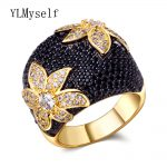 Big Black flower finger ring Jewellery CZ crystal Stones Gold color Large rings for women fashion <b>jewelry</b> luxury <b>accessories</b>